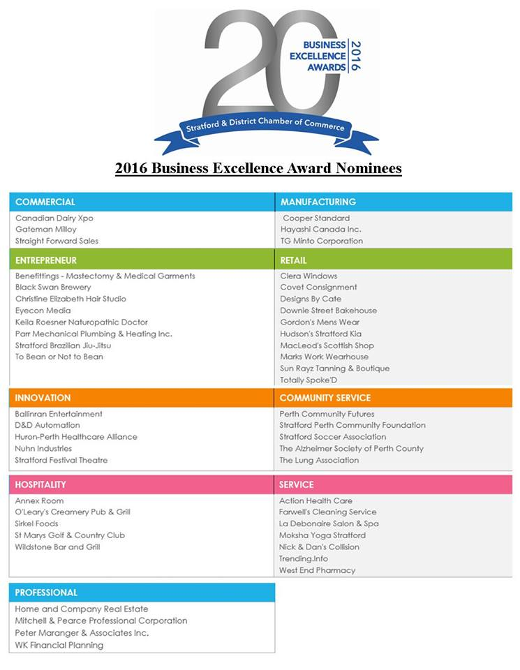 2016 Nominees for Business Excellence Awards